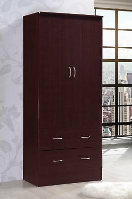 Bedroom Armoire 2-door 2-drawers mahogany wardrobe storage closet cabinet wood 2 Door Wardrobe Cabinet