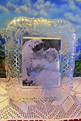 New Mikasa 6x8 Lead Crystal Glass Wedding Picture Frame Frosted Scrolled Edges