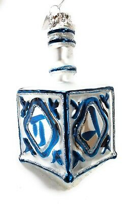 Noble Gems Glass Jewish Hanukkah Silver Driedal 4 1/4 in Christmas Tree Ornament - Hanukkah Ornaments