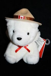 RCMP-Royal-Canadian-Mounted-Police-White-Plush-Teddy-Bear-Stuffed-Animal-House