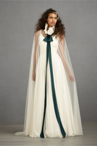 BHLDN Anthropologie Ivory CONSPICUOUS CAPE tulle silk tie NWOT Retail $400