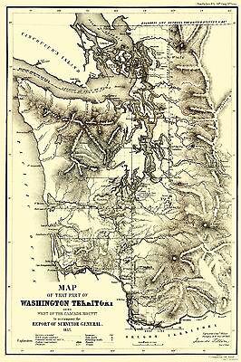 Washington Cascades (Washington Territory - West of Cascades - Duval 1857 - 23 x 34)