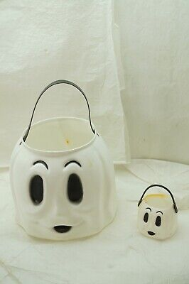 VINTAGE HALLOWEEN EMPIRE BLOW MOLD CANDY BUCKET WHITE GHOST 9in PLUS MINI 2 PC