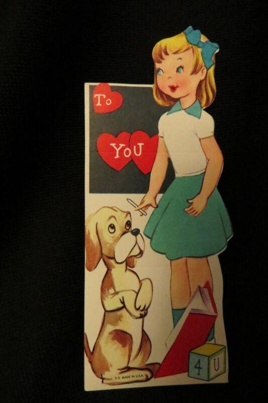 Vintage HOUND dog Valentine Card c. 1950s unsigned