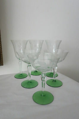LOT OF 6 DEPRESSION GLASS STEMWARE - OPTIC PANEL GREEN BASE FROSTED/SATIN ETCH