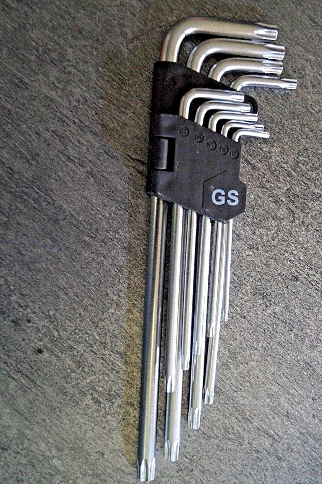 9 x Torx Winkelschlüssel CrV T10 - T50 lang Steckschlüssel Satz Schraubendreher
