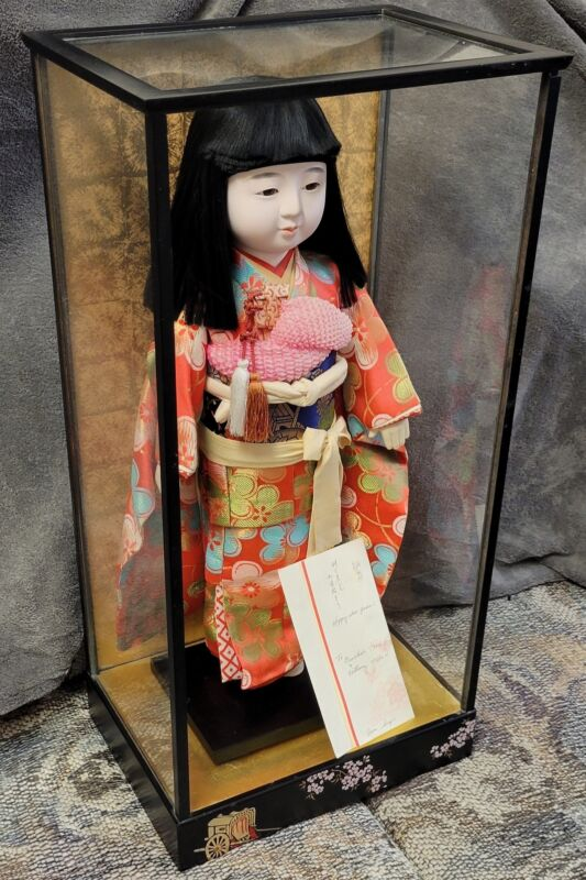 """Vintage 22"""" Japanese Ichimatsu Doll in Case with Paper"""