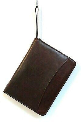 8x10.5 Day Runner Reddish Brown Leather 3-rng 1 Binder Zip Planner Organizer