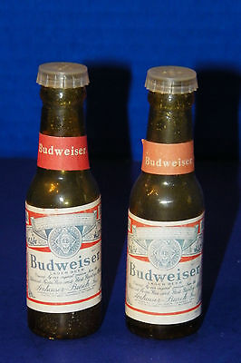 """Budweiser Paper Label Bottle S&P Shakers Yellow Light Amber 4"""" Made in Taiwan"""