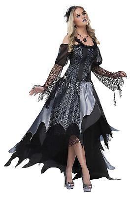 Spider Queen Adult Womens Costume Elegant Gown Dress Black Gothic Halloween