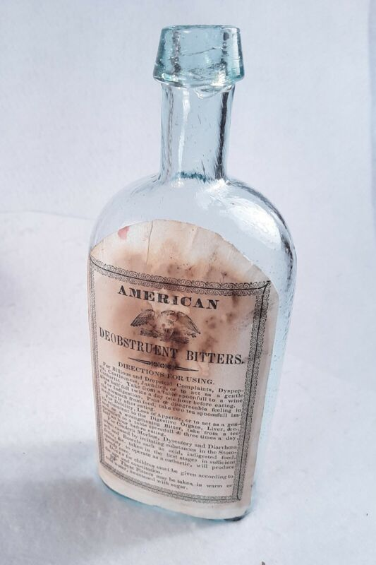 TBR) Early Labeled AMERICAN DEOBSTRUENT BITTERS, Open Pontil