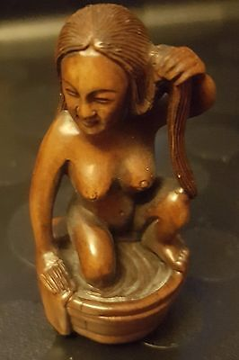 Netsuke - Naked Woman in a wooden tub