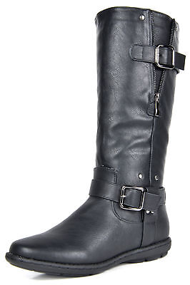 DREAM PAIRS Womens Flat Faux Fur-Lined Side Zip Knee High Wi