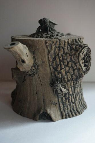 Stone Chinese Teapot, Decorative, Locust Design