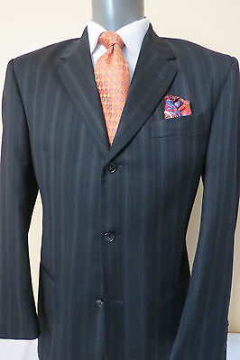 JHANE BARNES Frequency Navy Pin Stripe Blazer jacket sport coat Poly/ Viscos 40R