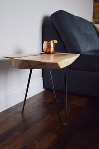 Live edge maple wood accent table with flame maple bow tie