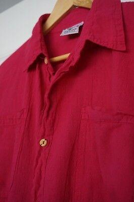 Aries & Taurus Drawstrings Hot Pink Wood Button Up 100% Cotton Men's size L