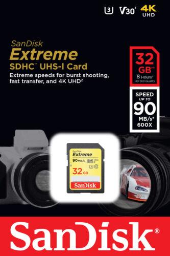 SanDisk Extreme 32GB SDHC 90 MB/S UHS-1 SD Class 10 Memory Card SDSDXVE-032G U3