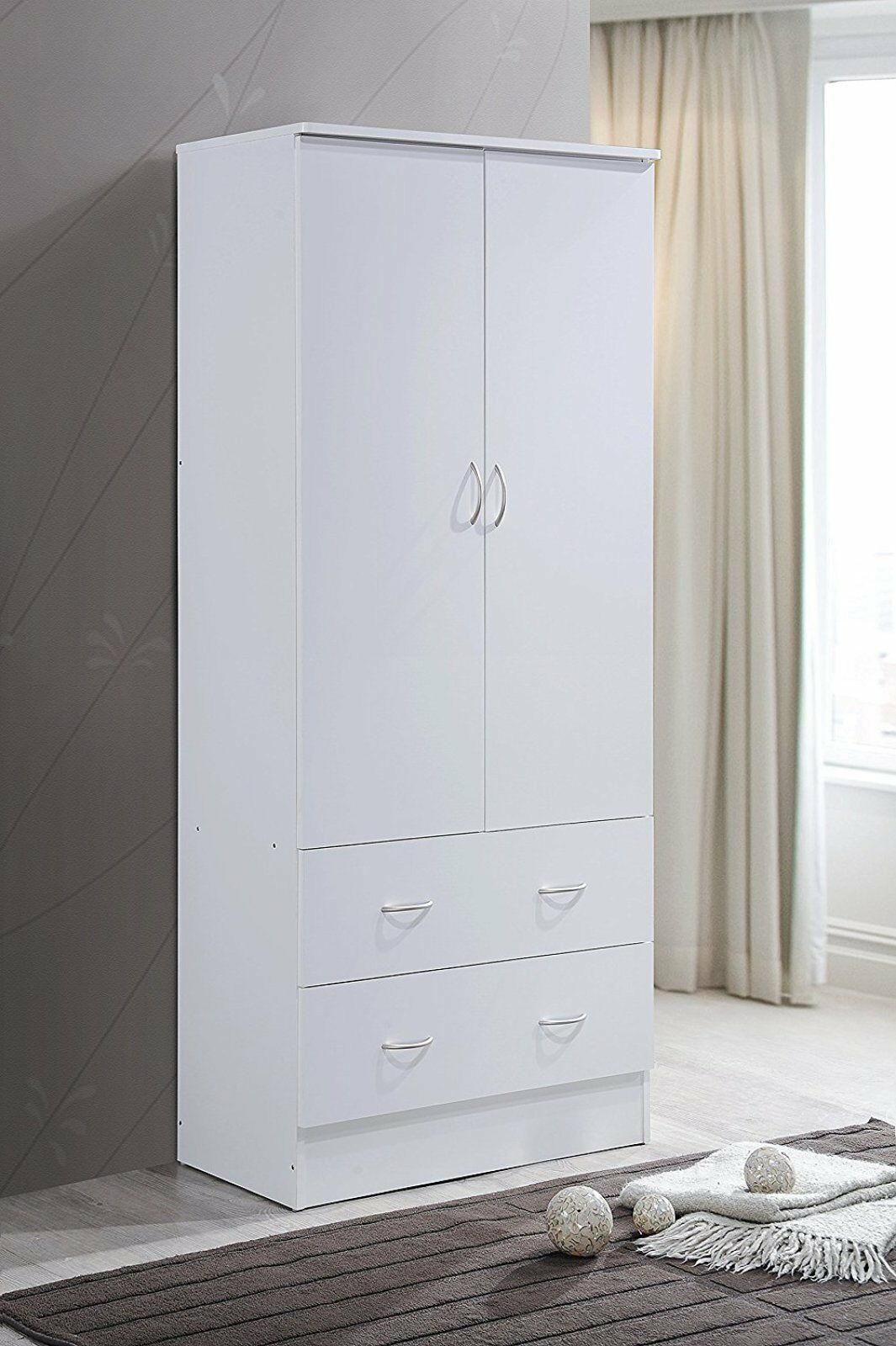 Tall Armoire Wardrobe Closet Cabinet Clothes Storage Organizer Bedroom  Furniture