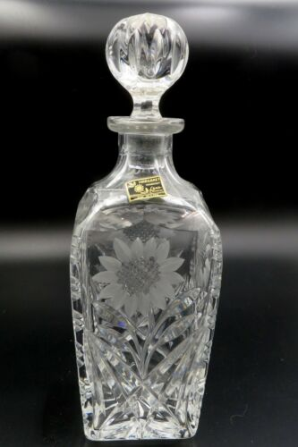 """EXQUISITE MARGARET HAND CUT LEAD CRYSTAL 12"""" SUNFLOWER DECANTER With Label"""