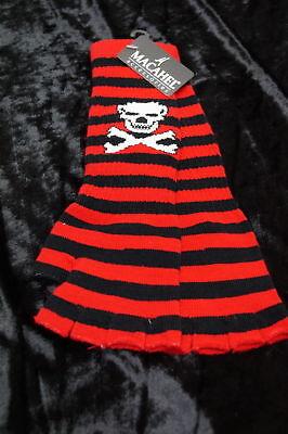 e Armstulpen Strick warm rot/gestreift Skull (Rote Fingerlose Handschuhe)