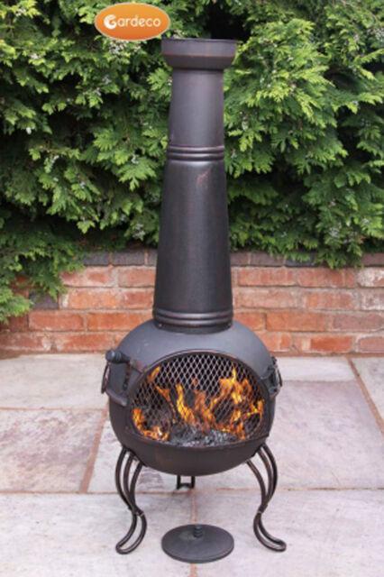 Kobie large steel chimenea 125cm high garden patio heater fire woodburner