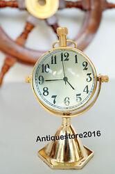 Nautical Desk Clock Table Clock With Golden Finish Vintage Marine Best Gift Item