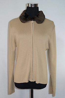 Kathie Lee Collection Sweater Cardigan Top Faux Fur Brown Tan Long Sleeve Medium