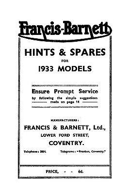 (0563) 1933 Francis Barnett 27 28 29 30 31hints & parts book