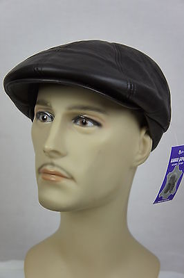 NEW 100%  LEATHER Gatsby Cap Mens Newsboy Hat Ivy Golf Driving Flat Cabbie M-3XL