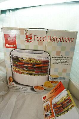 FOOD DEHYDRATOR MACHINE RONCO 5 TRAY ELECTRIC JERKY FRUIT ROLLS RON POPEIL BOX