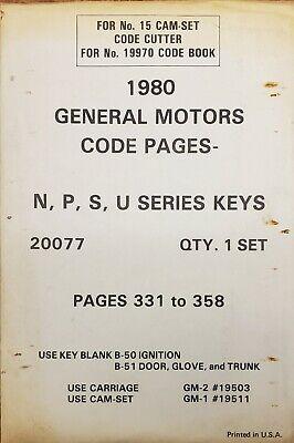 Curtis 1980 General Motors Code Pages N P S U Series Keys Cutter Model 15