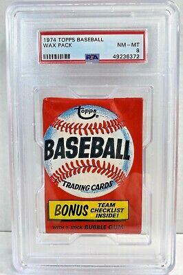 1974 Topps Baseball Card Original Unopened WAX PACK PSA 8 Graded NM-MT Sealed