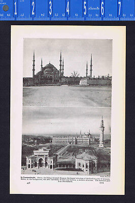 (Constantinople-Sultan Ahmed Mosque & University of Law and Letters -1937 Print)