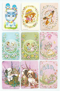 #600.013 Blank Back Swap Cards -MINT- Lot of 9 - Animals with flowers