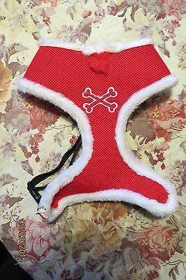 NEW ADORABLE BRETT MICHAEL'S  SANTA  RED WITH WHITE REVERSIBLE HARNESS  SZ - Michaels Hunde Kostüm