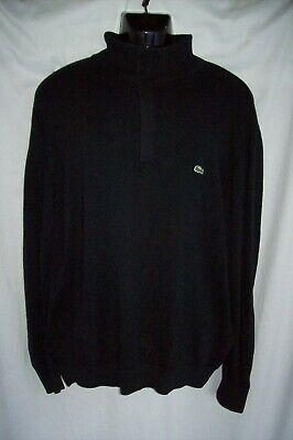 Lacoste Men's 1/4 Pullover Sweater Black • XL • Size 6 100% Cotton