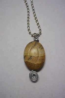 Petrified Wood Jasper Gemstone Pendant On A 22 Inch Ball Chain