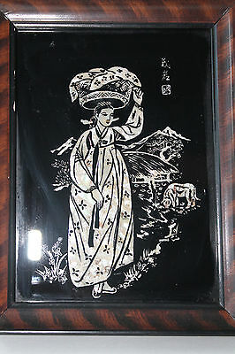Antique Asian Chinese or Japanese Mother of Pearl Frame Black Picture Girl - Chinese Or Japanese Girls