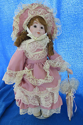 PINK UMBRELLA by MARIAN YU Collection LIMITED EDITION Porcelain Doll