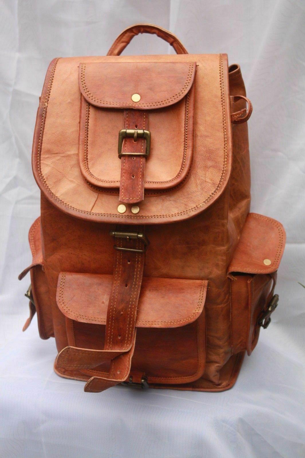 genuine leather rucksack backpack school bag college