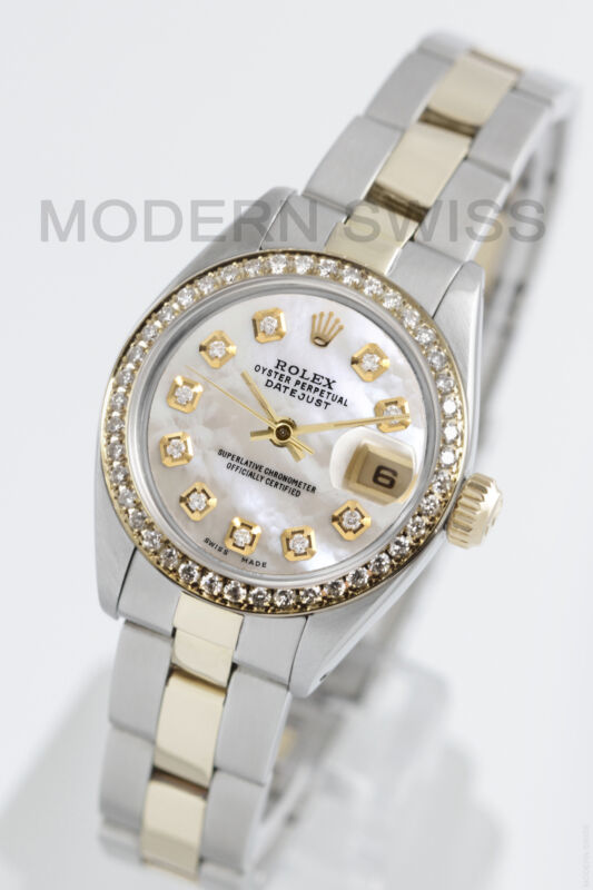 Rolex Ladies Datejust Gold Steel White Mop Diamond Dial & Bezel Oyster 2tone 2yr