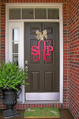 Wooden MONOGRAM door hanger/red custom Initial/burlap bow/decor/wedding ...