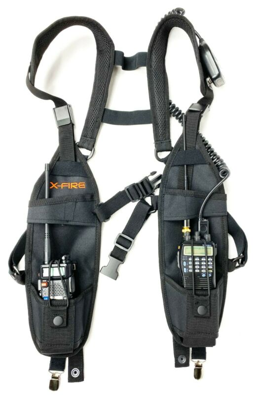 X-FIRE ® Radio Vest Chest Harness Universal Carry Case Front Pack Holster Pouch