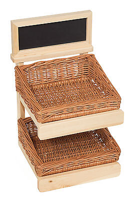 Counter Top Display Stand Wooden with Baskets
