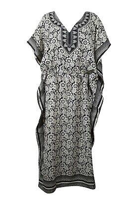 Black White Floral Maxi Caftan Dress Kimono Sleeves Beach Cover Up Comfy Kaftan