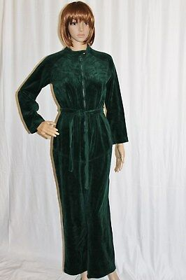 Vintage Velour JumpSuit PlaySuit Forrest Green Patty Woodard Racer Bond Girl M/L Racer Girl Overall