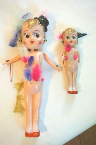 Vintage Doll Celluloid Carnival Fair Prize Japan Strung Feathers Kewpie - 2