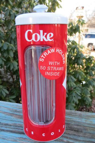 Coca-Cola tin straw holder,50 straws,Coke soda,canister,vintage design,window