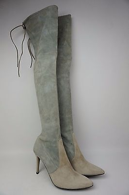 Stuart Weitzman Highland Over the Knee Two Tone Grey Suede Boots Size 8.5 M